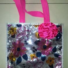 Gentuta fete cu paiete si floare roz, 27x25 cm - Gentuta Copii