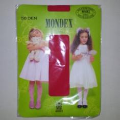 Ciorapi pantalon elasticizati Mondex copii, 50 DEN, talia 2 (110-128) rosu - Ciorapi Copii
