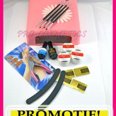 PROMOTIE! Kit unghii false kit gel 3 geluri CCN lampa unghii 36 w