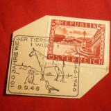 Timbru pe fragment-5 Shillingi 1945 rosu, tip II Austria, stamp. speciala