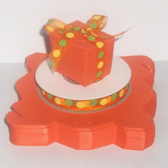 Kit 39 marturii botez (cutie cub/ funda buline) - portocaliu - pret redus