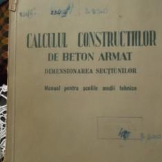 CALCULUL CONSTRUCTIILOR DE BETON ARMAT -DIMENSIONAREA SECTIUNILOR