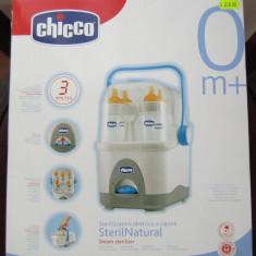 Chicco - Steril Natural pt. 5 biberoane, la cutie, ca nou - Sterilizator Biberon Chicco, Cu aburi