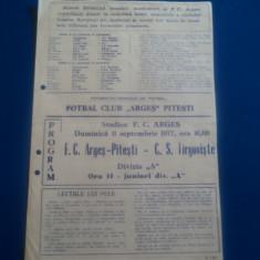 Program fotbal FC ARGES Pitesti - CS TARGOVISTE 11.09.1977