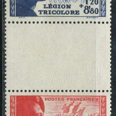 RFL 1942 Franta triptic punte Legiunea Tricolora fara sarniera Mi.576-77D, Militar, Nestampilat