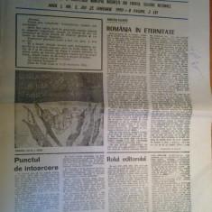 ziarul viata capitalei  25 ianuarie 1990 (131 de ani de la unirea lui cuza )