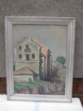 Tablou veritabil autentic  pictura veche (interbelc) ulei pe carton, frumos peisaj rural, semnat,