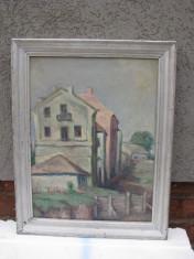 Tablou veritabil autentic  pictura veche (interbelc) ulei pe carton, frumos peisaj rural, semnat, foto
