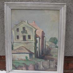 Tablou veritabil autentic  pictura veche (interbelc) ulei pe carton, frumos peisaj rural, semnat,, Peisaje, Realism
