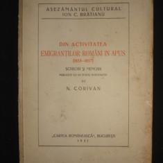 N. CORIVAN - DIN ACTIVITATEA EMIGRANTILOR ROMANI IN APUS {1931}