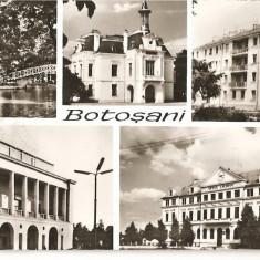 CPI (B1040) BOTOSANI, MOZAIC 5 IMAGINI, EDITURA MERIDIANE, CPCS, CIRCULATA, 1967, STAMPILE. - Carte Postala Moldova dupa 1918, Fotografie