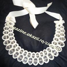 COLIER HIGH FASHION DAMA 45 PIETRE SWAROVSKI MARI OVALE IMBRACATE IN CATIFEA CREM / CULOAREA UNTULUI COLECTIE NOUA COLIERE MARGELE BIJUTERII FEMEI - Colier perle