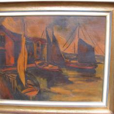 Tablou valoros deosebit pictura veche peisaj marin cu barci ulei pe panza semnat M.W. Arnold, Marine, Realism