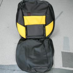 Huse auto din imitatie de piele galben cu negru - Husa Auto