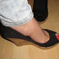 Pantofi platforma STRADIVARIUS 38 - Pantof dama, Culoare: Negru, Negru, Cu platforma