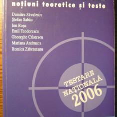 Dumitru Savulescu, Stefan Sabau, Ion Rosu - Matematica: testare nationala 2006 - Notiuni teoretice si teste