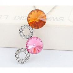 Colier Crystal Circles - Colier placate cu aur