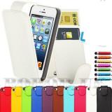 IPHONE 5 APPLE HUSA DE PIELE ALBA NOUA + FOLIE ECRAN ! - Husa Telefon Apple, iPhone 5/5S/SE