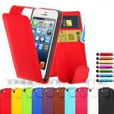 IPHONE 5 APPLE HUSA DE PIELE ROSIE NOUA + FOLIE ECRAN ! - Husa Telefon Apple, iPhone 5/5S/SE