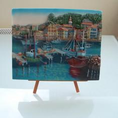 Tablou / basorelief 3D Port Medieval, stativ reglabil; unic, nu e facut in serie