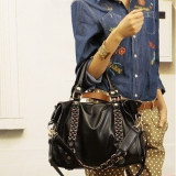 Geanta de dama din piele ecologica fashion - Geanta Dama, Culoare: Negru, Marime: Mare, Geanta de umar, Asemanator piele