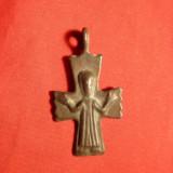 Cruciulita Crestina f.veche - probabil bronz, L= 4 cm