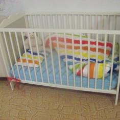Patut copil+ saltea din latex Vissa - Patut lemn pentru bebelusi, 1-3 ani, 120x60cm, Alb