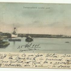 Constanta : debarcaderul noului port - U.P.U., circulata 1904, timbru