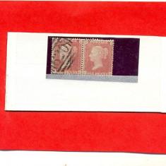 33-ANGLIA-MAREA BRITANIE-1858 GB43 Pereche orizontala Stampilata