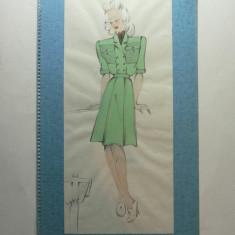 4 - MODA FEMININA VINTAGE ANII 1930 - 40. CROCHIU PE SUPORT DE CARTON CU PASSEPARTOUT - LUCRAT MANUAL CREION SI ACUARELA - DIMENSIUNI 32 X 17 CM
