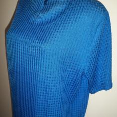 Bluza de gala, material foarte fin; XL: 58 cm bust, 63 cm lungime; ca noua - Bluza dama, Culoare: Albastru, Maneca scurta
