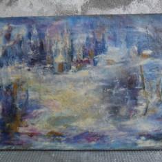 Peisaj iarna , tablou , pictura in ulei pe panza