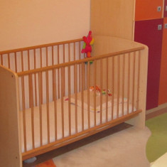 Patut copii lemn mobexpert, mare, stare f buna, cu saltea - Patut lemn pentru bebelusi, 3-6 ani, Alte dimensiuni, Altele