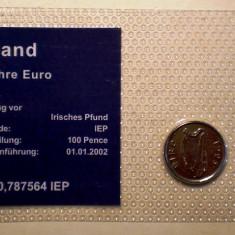 5.310 IRLANDA SET 2 MONEDE UNC IN FOLDER 5 PENCE 1995, 1 EUROCENT 2009, Europa