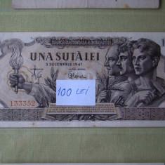 100 lei 1947 filigran BNR aUNC