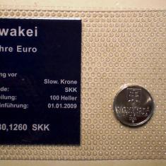 5.313 SLOVACIA SET 2 MONEDE UNC IN FOLDER 10 HALIEROV 2002, 1 EUROCENT 2010, Europa