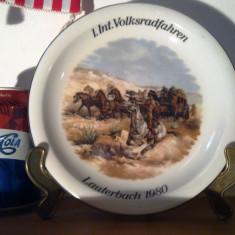 Farfurie decorativa western, decor cu cowboy, indieni, diligenta, Horse room - Arta din Sticla