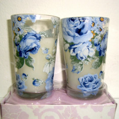 Set 2 Lumanari parfumate total 4 pahare model Roses - h 8 cm, diam 4 cm - Lumanare parfumata