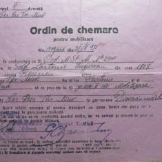 ORDIN DE CHEMARE PENRU MOBILIZARE - PERIOADA INTERBELICA