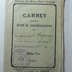 CARNET PENTRU NOTE SI OBSERVATIUNI AL ELEVULUI - SCOALA PRIMARA DE STAT COMUNA BESINAU JUD.TARNAVA MICA - ANUL 1925 - Diploma/Certificat