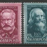 Ungaria 1952 500 ani Leonardo da Vinci-150 ani V.Hugo - Timbre straine