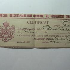 DIRECTIA RECENSAMANTULUI GENERAL AL POPULATIEI DIN 1930 - CERTIFICAT - Diploma/Certificat