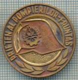 493 INSIGNA  - PIONIERI -PRIETEN AL POMPIERILOR -FRUNTAS -nu mai are stratul plastifiat  -starea care se vede