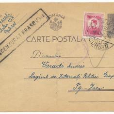 RFL 1944 ROMANIA carte poștală cenzurată Lagarul Detinuti Politici Tg. Jiu, Gorj