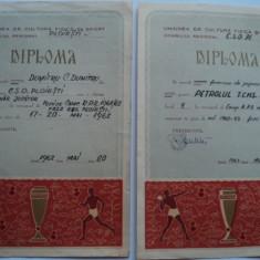 Lot 2 diplome sportive - popice anii`60
