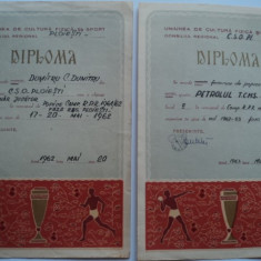 Lot 2 diplome sportive - popice anii`60 - Diploma/Certificat
