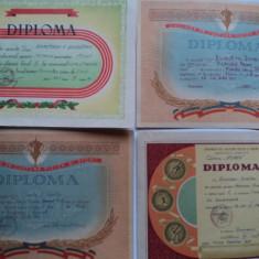 Lot 4 diplome sportive anii`60 - Hartie cu Antet