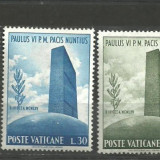 Vatican 1965 - VIZITA PAPEI PAUL VI LA ONU, serie nestampilata D113
