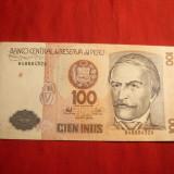 Bancnota 100 Intis Peru 1987, cal.Buna