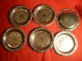 Set 6 Farfurioare vechi -metal argintat , d= 10,7 cm